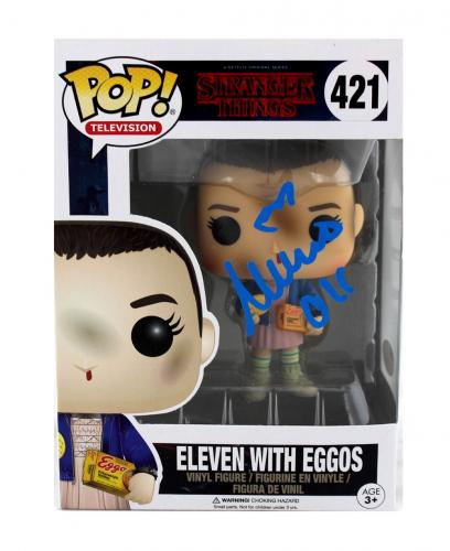 """Millie Bobby Brown Signed Stranger Things Funko Pop! #421 Action Figure With """"Eleven"""" Inscription"""