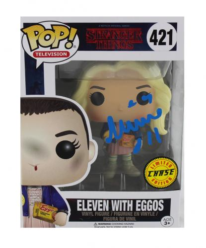 """Millie Bobby Brown Signed Stranger Things Funko Pop! #421 Action Figure With """"Eleven"""" Inscription - Chase Variant"""