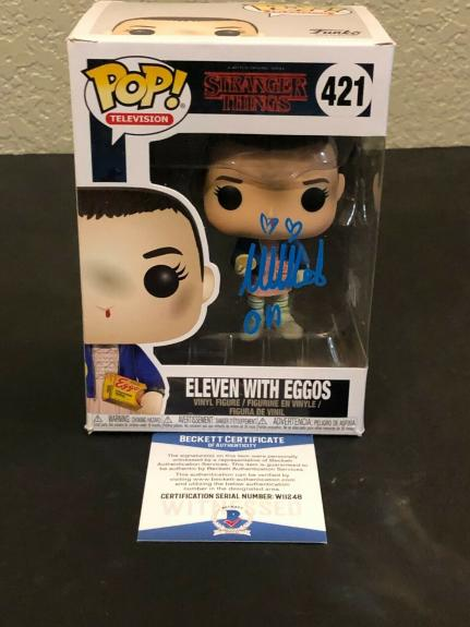 Millie Bobby Brown Stranger Things Eleven Eggos Signed Autograph Funko POP BAS