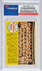 Milwaukee Braves Team 1958 Topps #377 Card 2 with Hank Aaron