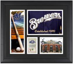 Milwaukee Brewers Team Logo Framed 15'' x 17'' Collage with Piece of Game-Used Ball - Mounted Memories