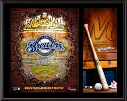 Milwaukee Brewers Sublimated 12'' x 15'' Team Logo Plaque - Mounted Memories