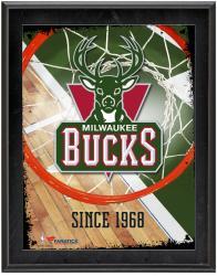 "Milwaukee Bucks Team Logo Sublimated 10.5"" x 13"" Plaque"