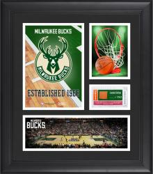 "Milwaukee Bucks Team Logo Framed 15"" x 17"" Collage with Team-Used Baseketball"