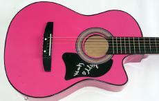 Mindy Smith Autographed Signed Pink Guitar Dual Cert JSA   AFTAL