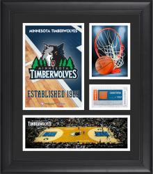 "Minnesota Timberwolves Team Logo Framed 15"" x 17"" Collage with Team-Used Baseketball"