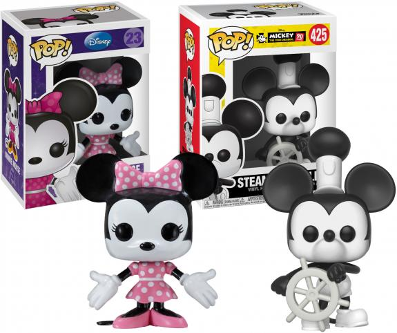 Minnie Mouse and Steamboat Willie Mickey Mouse Disney Funko Pop! Bundle