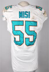 Koa Misi Miami Dolphins 10/6/13 Game-Used White #55 Jersey - Mounted Memories