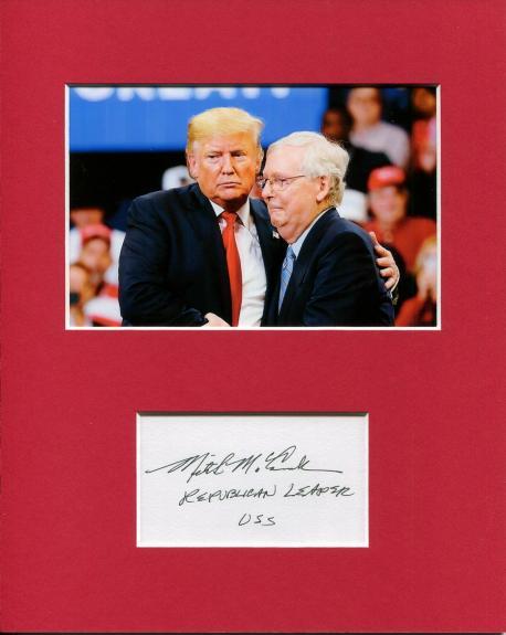 Mitch McConnell Kentucky Senator Signed Autograph Photo Display W Donald Trump
