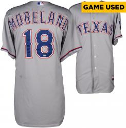 Mitch Moreland Texas Rangers Game-Used Grey Jersey from 5/5/14 vs. Colorado Rockies