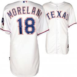 Mitchell Moreland Texas Rangers Game Used White Jersey from 4/11/14 vs Los Angeles Angels of Anaheim