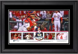 Yadier Molina St. Louis Cardinals Framed Panoramic with Piece of Game-Used Ball - Limited Edition of 500 - Mounted Memories