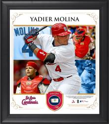 "Yadier Molina St. Louis Cardinals Framed 15"" x 17"" Collage with Piece of Game-Used Ball"