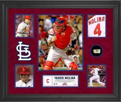 Yadier Molina St. Louis Cardinals Framed 5-Photo Collage with Piece of Game-Used Ball - Mounted Memories