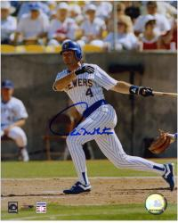 "Paul Molitor Milwaukee Brewers Autographed 8"" x 10"" Looking At Ball Photograph - Mounted Memories"