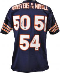 Monsters of the Middle Brian Urlacher, Dick Butkus and Mike Singletary Chicago Bears Autographed Jersey - Mounted Memories