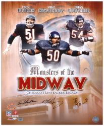 Dick Butkus, Mike Singletary, & Brian Urlacher Chicago Bears Autographed 16'' x 20'' Collage Photograph