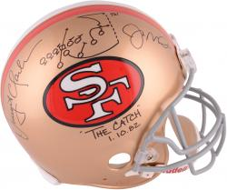 "Joe Montana/Dwight Clark San Francisco 49ers Autographed Pro-Line Riddell Authentic Helmet with ""Hand drawn Play"" Inscription - Mounted Memories"