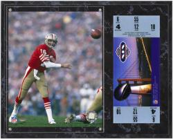 San Francisco 49ers Super Bowl XIX Joe Montana Plaques with Replica Ticket - Mounted Memories