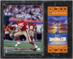 San Francisco 49ers Super Bowl XXIII Joe Montana Plaques with Replica Ticket - Mounted Memories