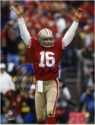 Joe Montana San Francisco 49ers Autographed 8'' x 10'' Arms Up Red Uniform Photograph - Mounted Memories