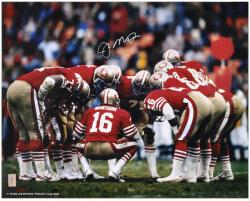 San Francisco 49ers Joe Montana Autographed 16'' x 20'' Huddle Photo - Mounted Memories