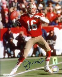 Joe Montana San Francisco 49ers Autographed 8'' x 10'' Looking Downfield Photograph - Mounted Memories