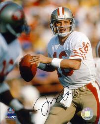 Joe Montana San Francisco 49ers Autographed 8'' x 10'' Ball In 1 Hand Photograph - Mounted Memories