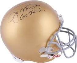 Joe Montana Notre Dame Fighting Irish Autographed Riddell Replica Helmet with Go Irish Inscription - Mounted Memories