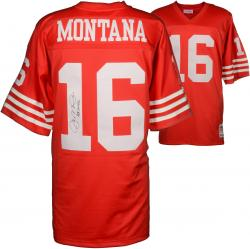 Joe Montana San Francisco 49ers Autographed Red Mitchell & Ness Replica Jersey with HOF 00 Inscription