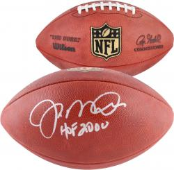 Joe Montana San Francisco 49ers Autographed Duke Pro Football with HOF 00 Inscription - Mounted Memories