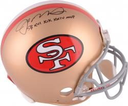 "Joe Montana San Francisco 49ers Autographed Throwback Pro Line Helmet with ""SB MVP"" Inscription - Mounted Memories"