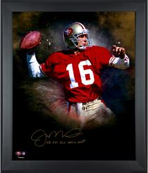 Joe Montana San Francisco 49ers Framed Autographed 20'' x 24'' In Focus Photograph with Multiple Inscriptions-#16 of Limited Edition of 16 - Mounted Memories