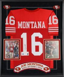 Joe Montana San Francisco 49ers Framed Autographed Custom Red Jersey