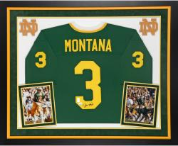 Joe Montana Notre Dame Fighting Irish Autographed Deluxe Framed Custom Green Jersey