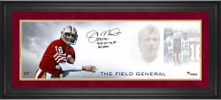 "Joe Montana San Francisco 49ers Framed Autographed 10'' x 30"" Field General Photograph with Multiple Inscriptions-#2-15 of Limited Edition of 16 - Mounted Memories"