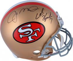 Colin Kaepernick & Joe Montana San Francisco 49ers Dual Autographed Riddell Pro-Line Authentic Helmet - Mounted Memories