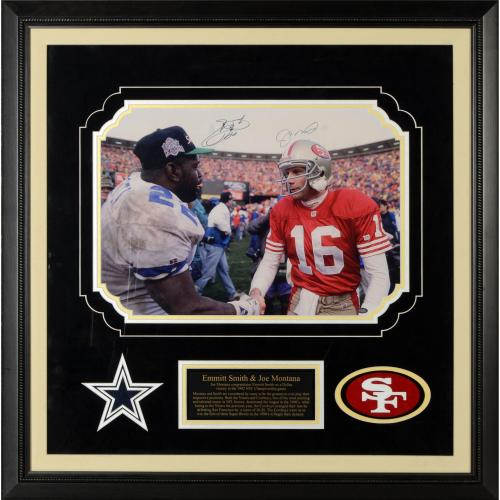 Joe Montana San Francisco 49ers & Emmitt Smith Dallas Cowboys Deluxe Framed Dual Autographed 16'' x 20'' Photograph