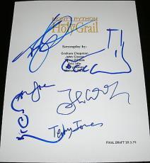 """Monty Python Cast Signed Autograph """"holy Grail"""" Movie Script Gilliam Foot Sketch"""
