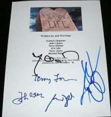"Monty Python Full Cast Signed Autograph ""meaning Of Life"" Movie Script Cleese +5"