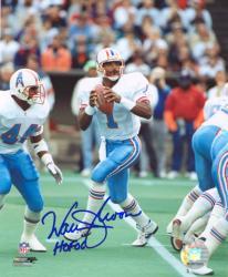 "Warren Moon Houston Oilers Autographed 8"" x 10"" Drop Back Photograph with HOF 06 Inscription"