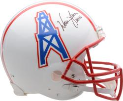 Warren Moon Houston Oilers Autographed Riddell Pro-Line Authentic Helmet with HOF 2006 Inscription - Mounted Memories