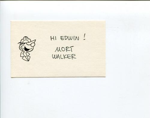 Mort Walker Beetle Bailey Rare Cartoonist Artist Comic Signed Autograph Sketch