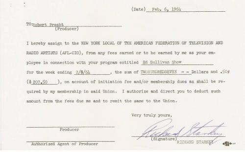 Most Historic Iconic Autographed Beatles Collectible: 1964 Signed Ed Sullivan Show Contracts- 4 Separate Contracts John W. Lennon, JP MCCartney (Paul McCartney), Richard Starky (Ringo Starr) and George Harrison