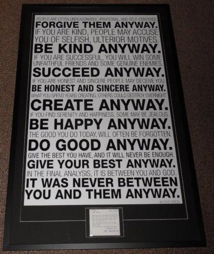 Mother Teresa 1993 Signed Framed 28x44 Prayer Card & Be Kind Poster Display