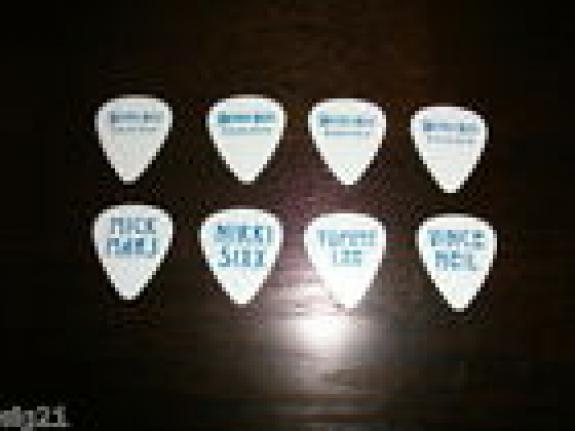 Motley Crue 4 Guitar Pick Set Europe 2010 Blue on White