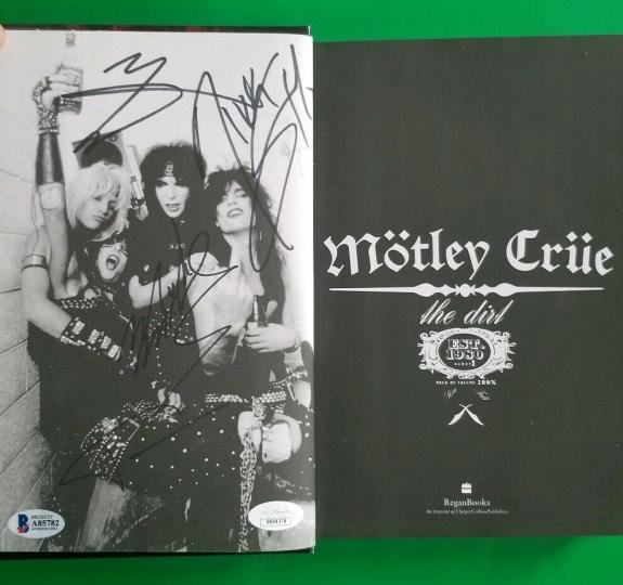 "Motley Crue Complete X4 Signed Hardcover 1st Edition Book ""the Dirt"" Jsa Bas Coa"