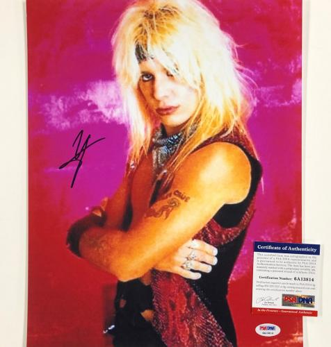 Motley Crue singer Vince Neil autograph signed 11x14 photo ~ PSA/DNA Witness COA