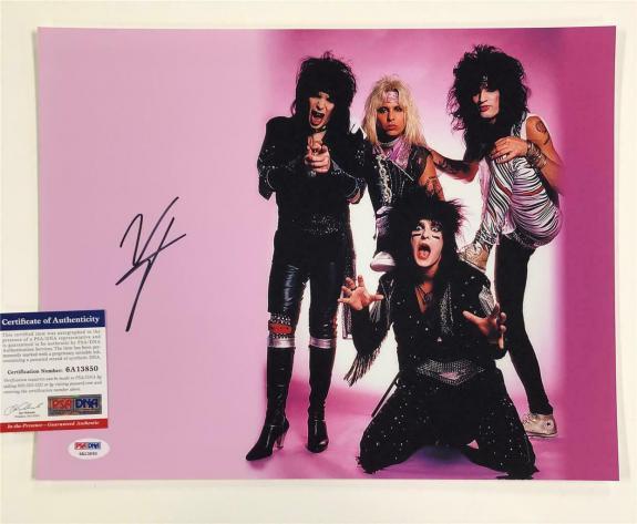 Motley Crue singer Vince Neil signed 11x14 band photo B ~ PSA/DNA Witness COA