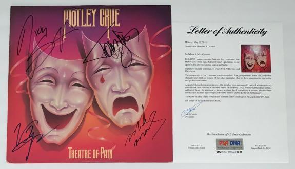 Motley Crue X4 Tommy Lee Nikki Sixx Mick Mars & Vince Signed Theatre Of Pain Psa